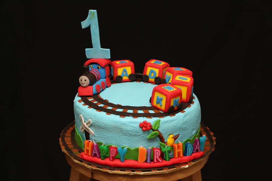 Thomas The Train Topper First Birthday Cake