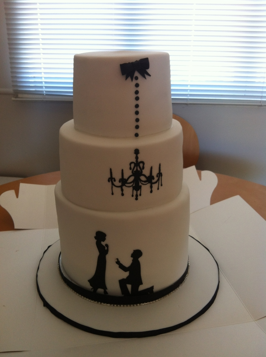 Silhouette Engagement Cake on Cake Central
