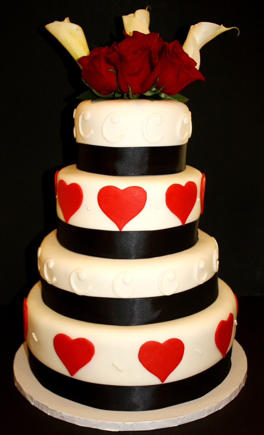 Red, Black, And White Heart Wedding Cake on Cake Central