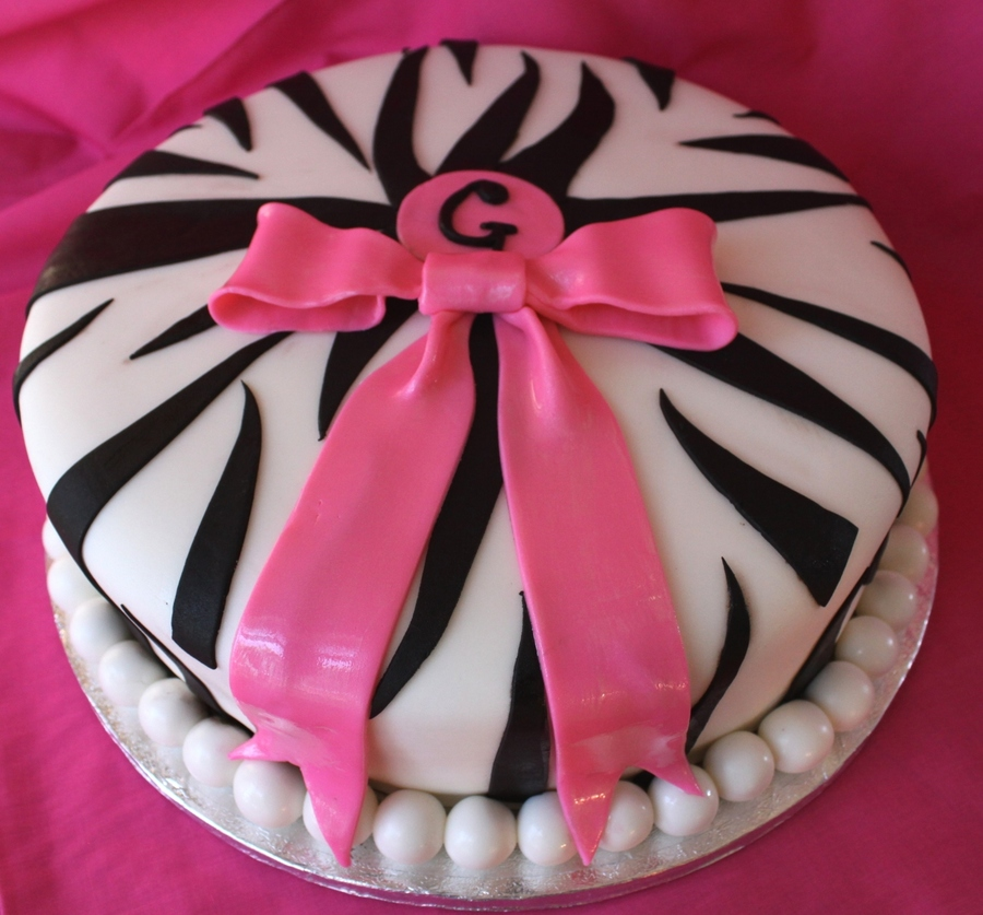 Zebra Print And Hot Pink Bow on Cake Central