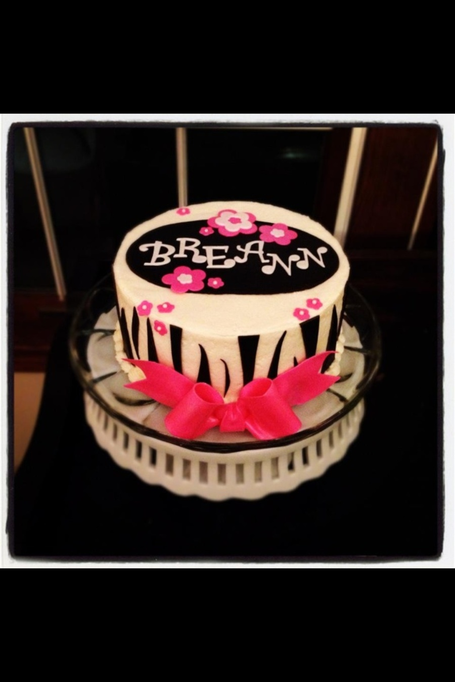 Girlie Cake With Zebra Stripes Buttercream With Mmf Decorations And Gum Paste Bow My First Bow on Cake Central