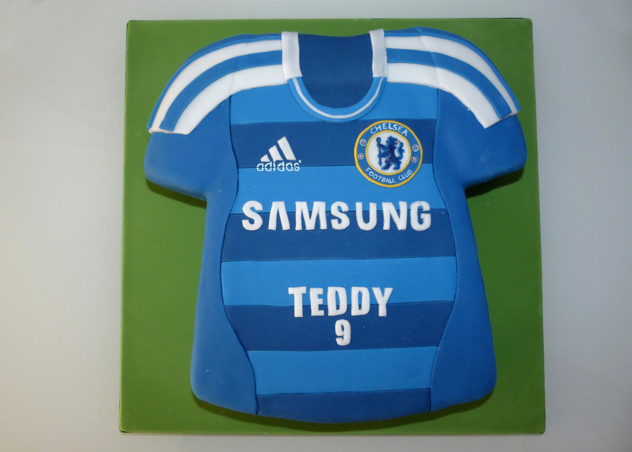 Chelsea football shirt cake for Football t shirt cake template