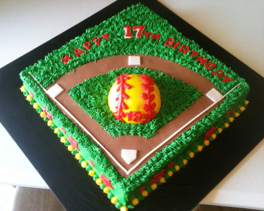 17th birthday softball themed cake for 17th birthday decoration ideas