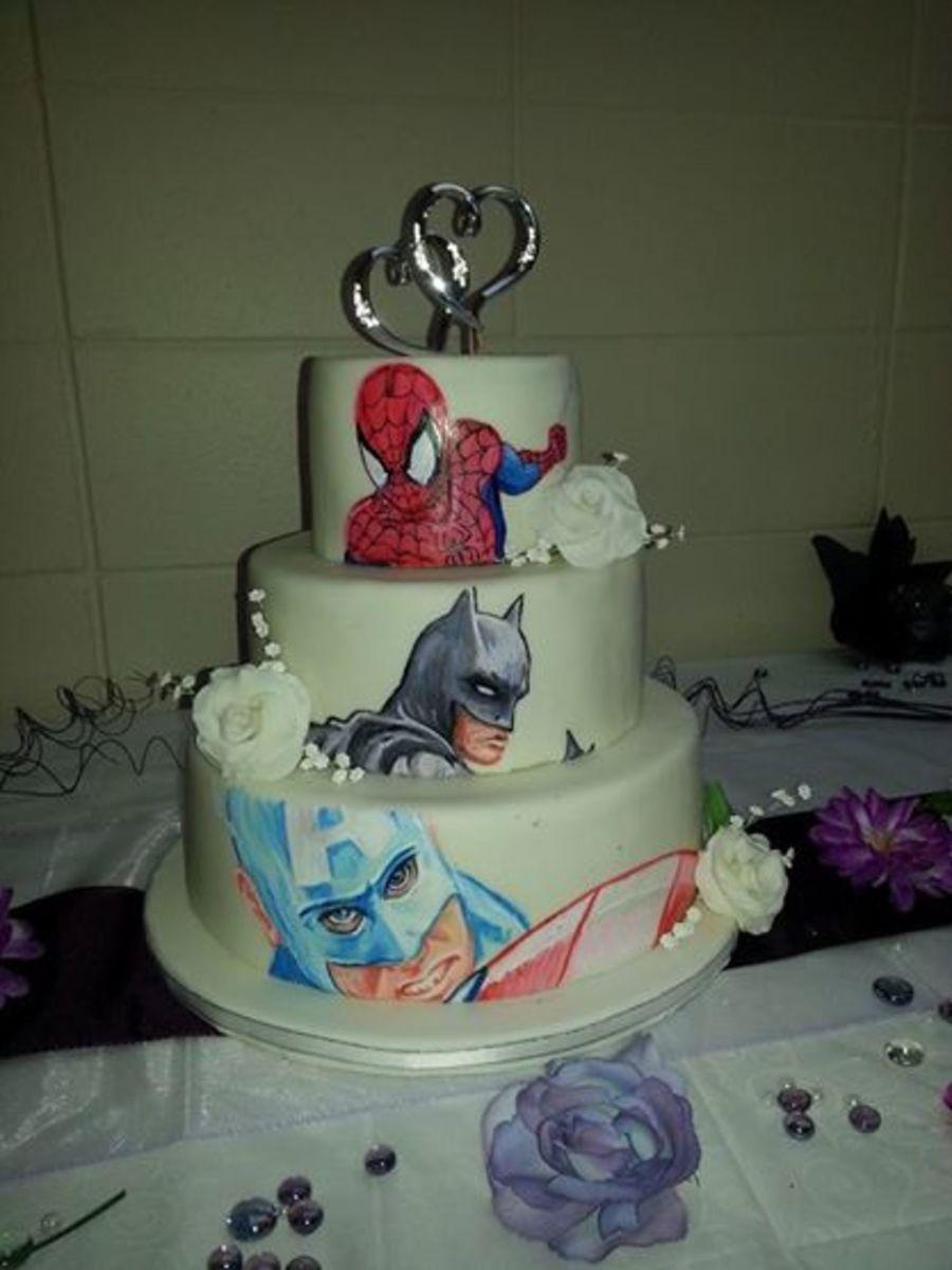 Hand Painted Superhero Wedding Cake - CakeCentral.com