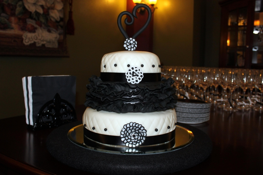 B&w Themed Engagement Cake on Cake Central