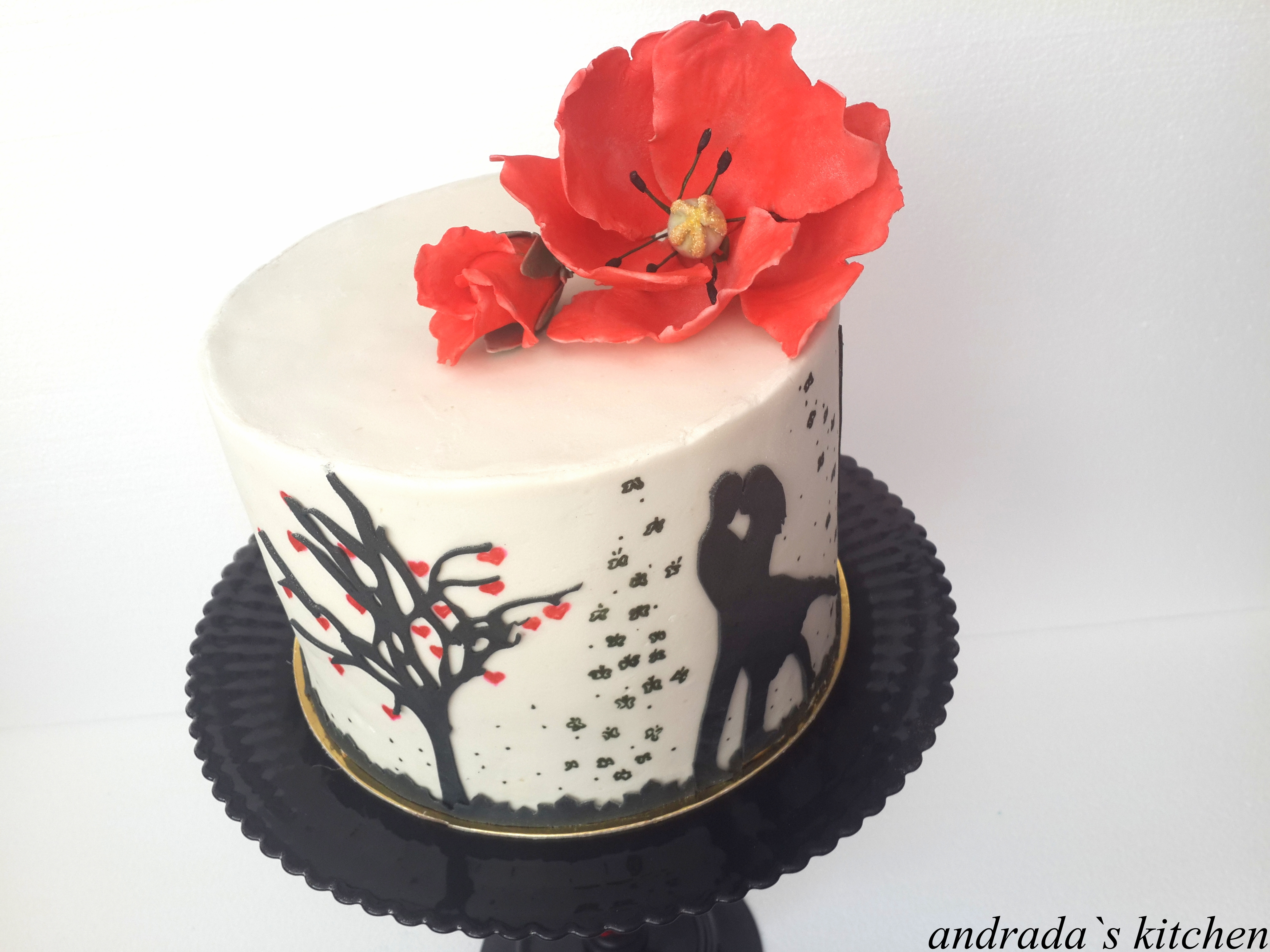 Romantic Silhouette With Red Poppy Flower Cakecentral