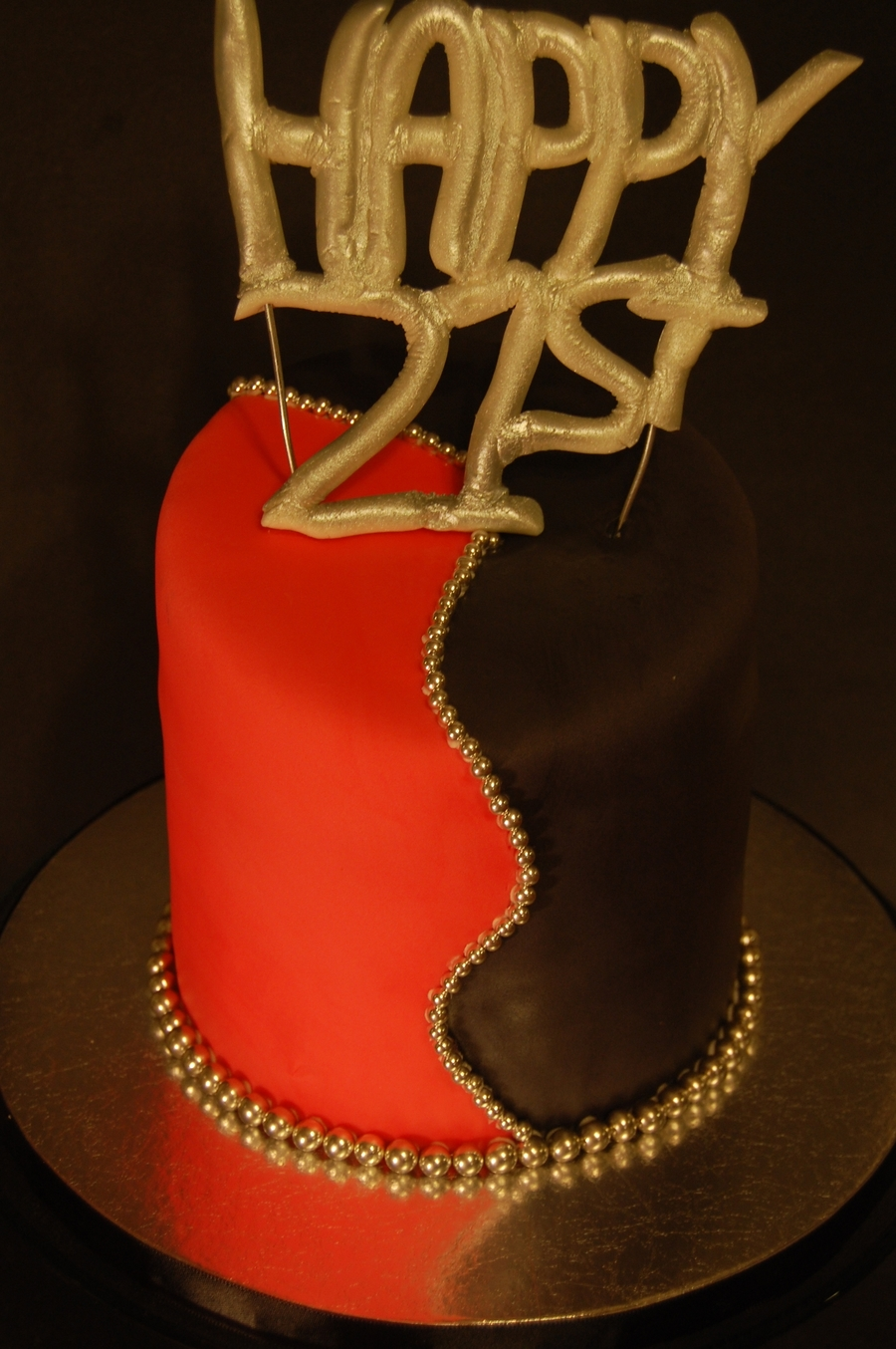 Red Black Silver Cake on Cake Central