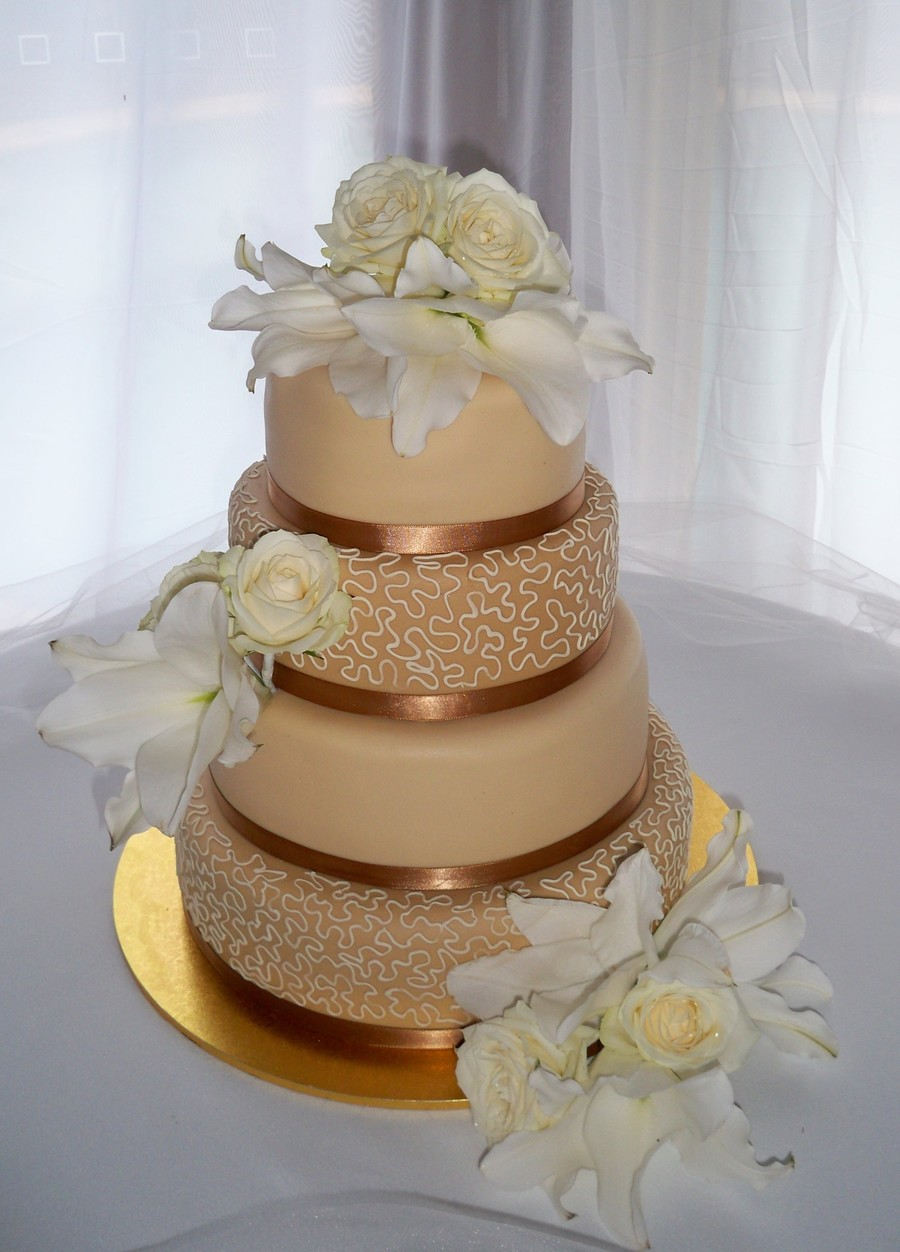 Coffee Gold Wedding Cake on Cake Central