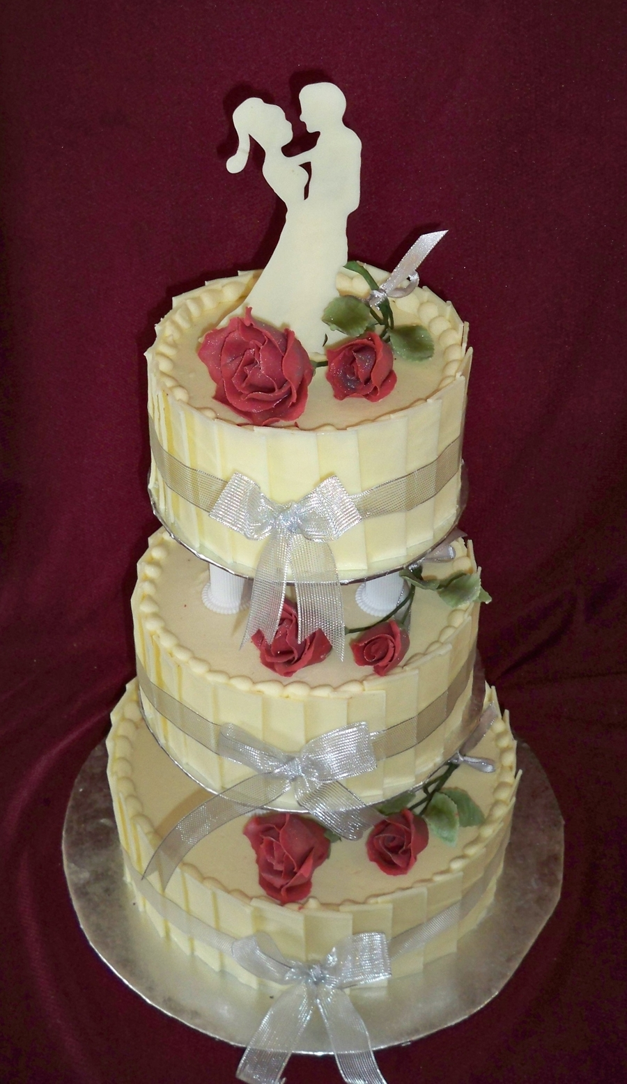 3 Tier White Chocolate Wedding Cake With Red Sugar Rose on Cake Central