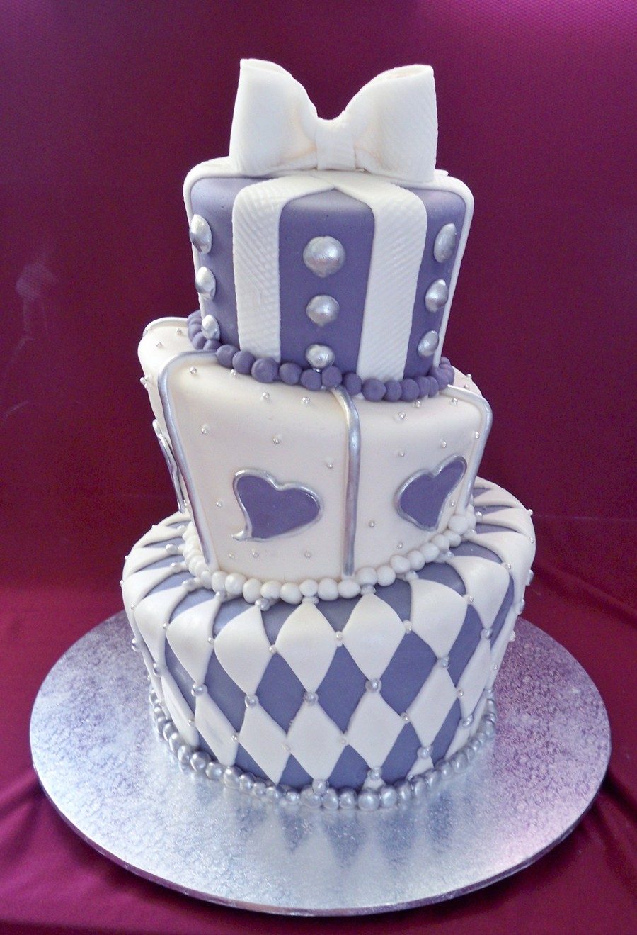 violet and silver wedding cake purple and silver topsy turvy wedding cake cakecentral 21619