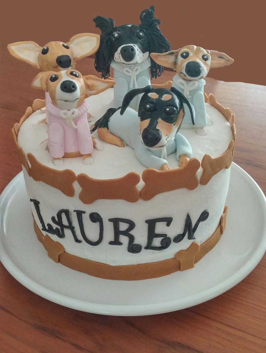 The Birthday Girls Five Dogs Pink Velvet Cake Covered In Buttercream ...
