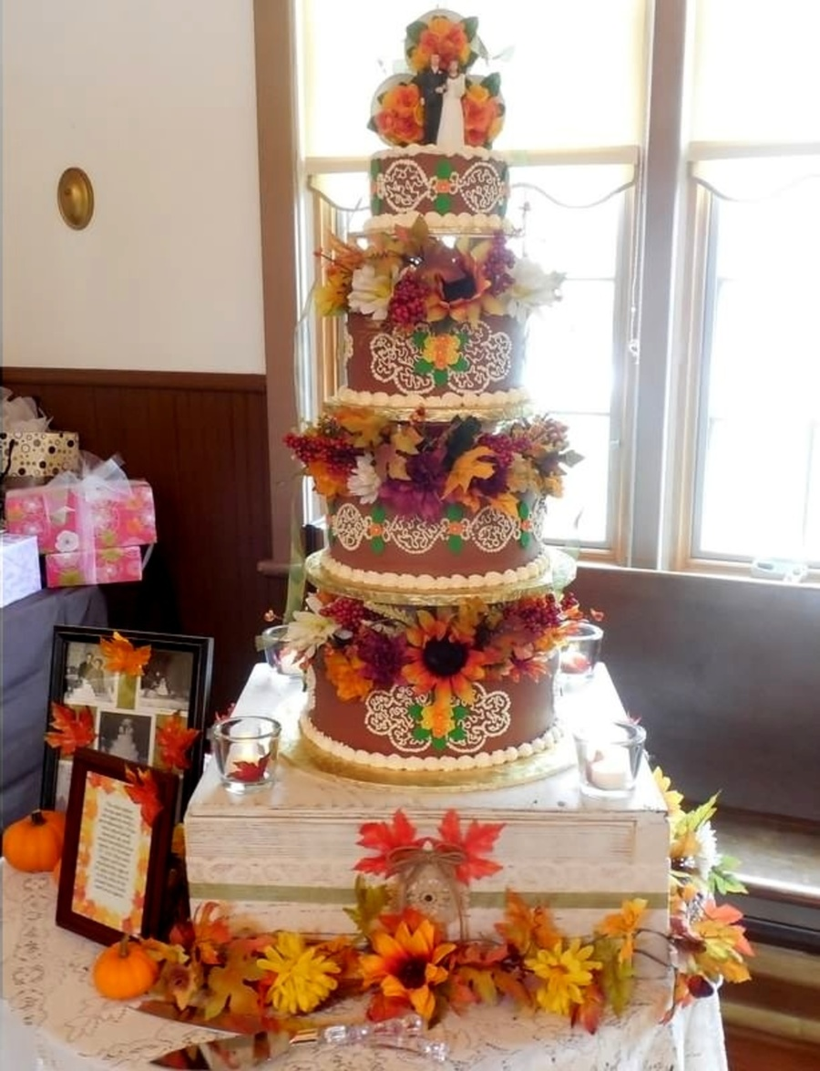 Chocolate Frosted Wedding Cake  on Cake Central