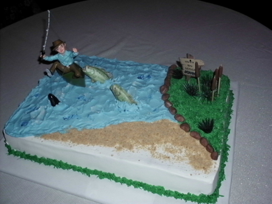 Gone Fishing Birthday Cake. on Cake Central