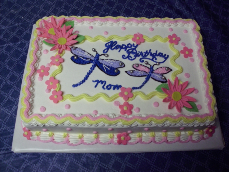 Dragonflies And Flowers on Cake Central