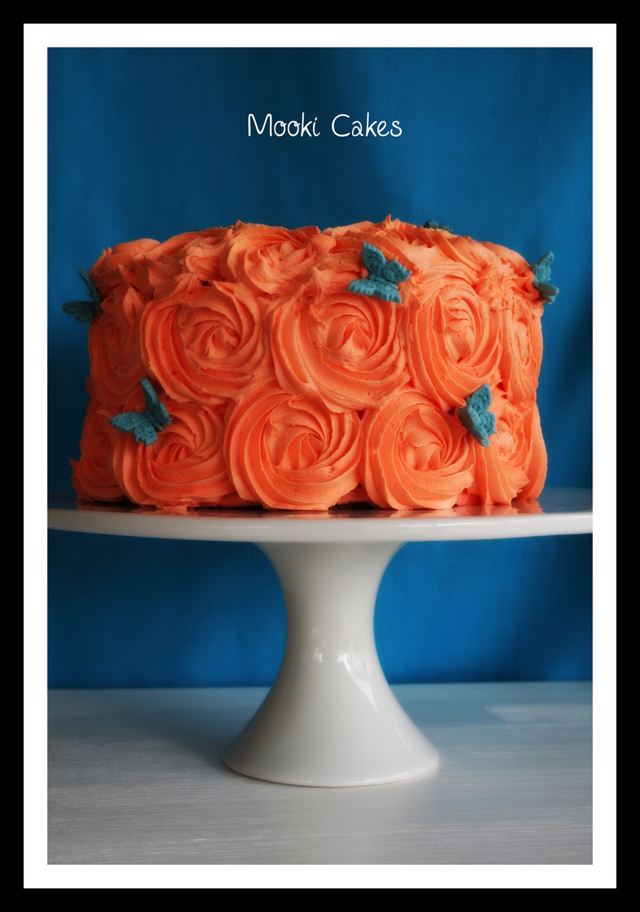 Blue And Orange Swirl Cake  on Cake Central