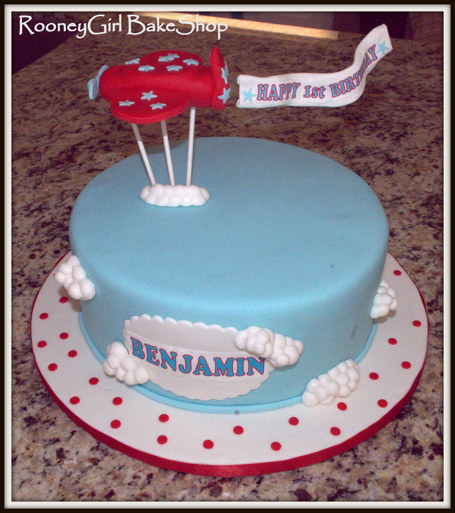 This Is A 10 Round Cake In Baby Blue Satin Ice Fondant Clouds Were