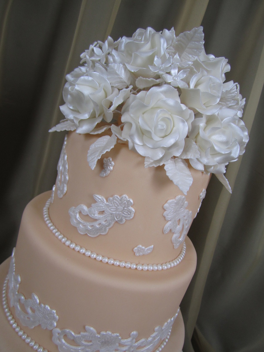 Cinderella Lace Wedding Cake on Cake Central