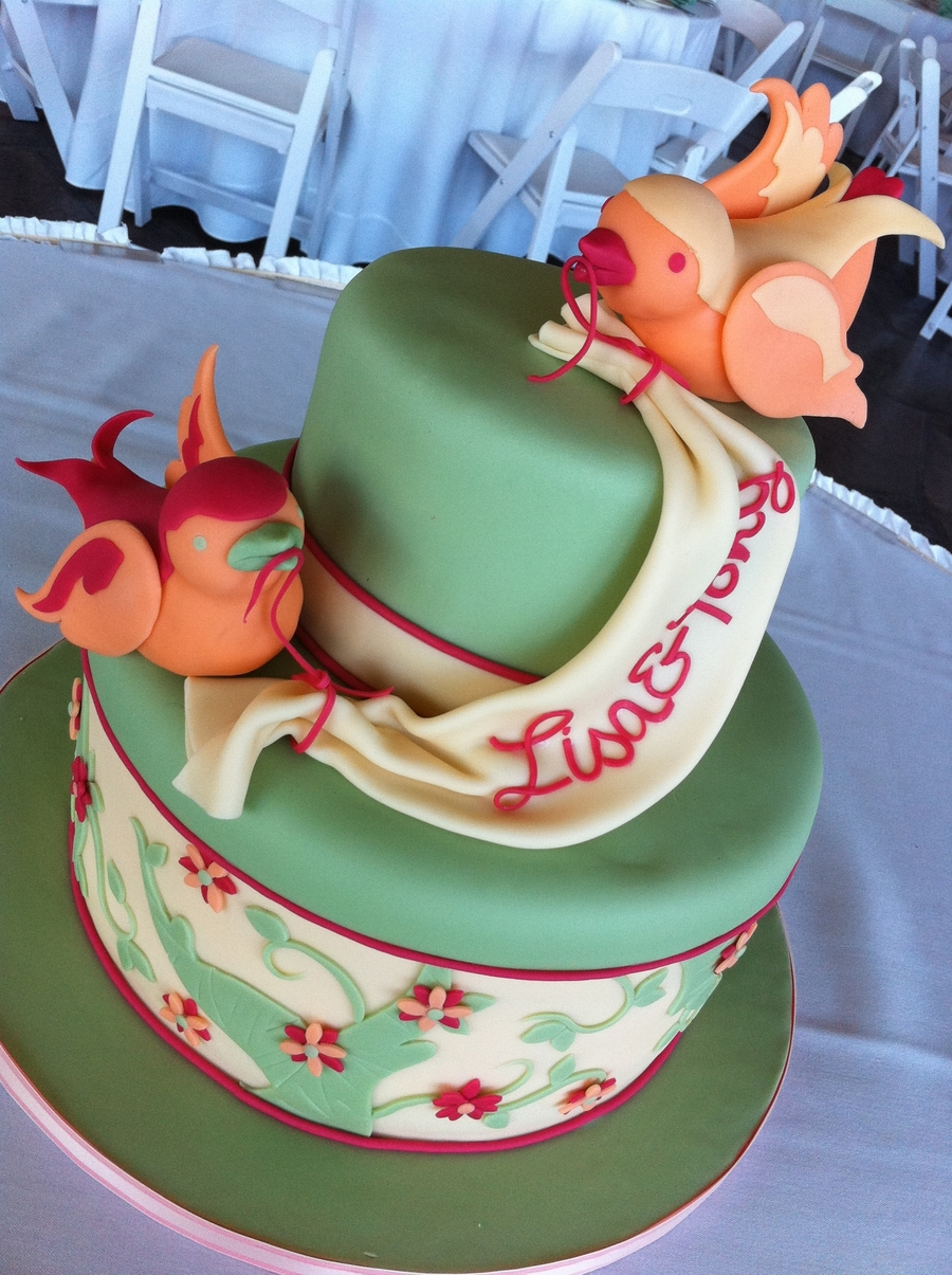 Lovebirds Wedding Cake From Sweet Discoveries on Cake Central