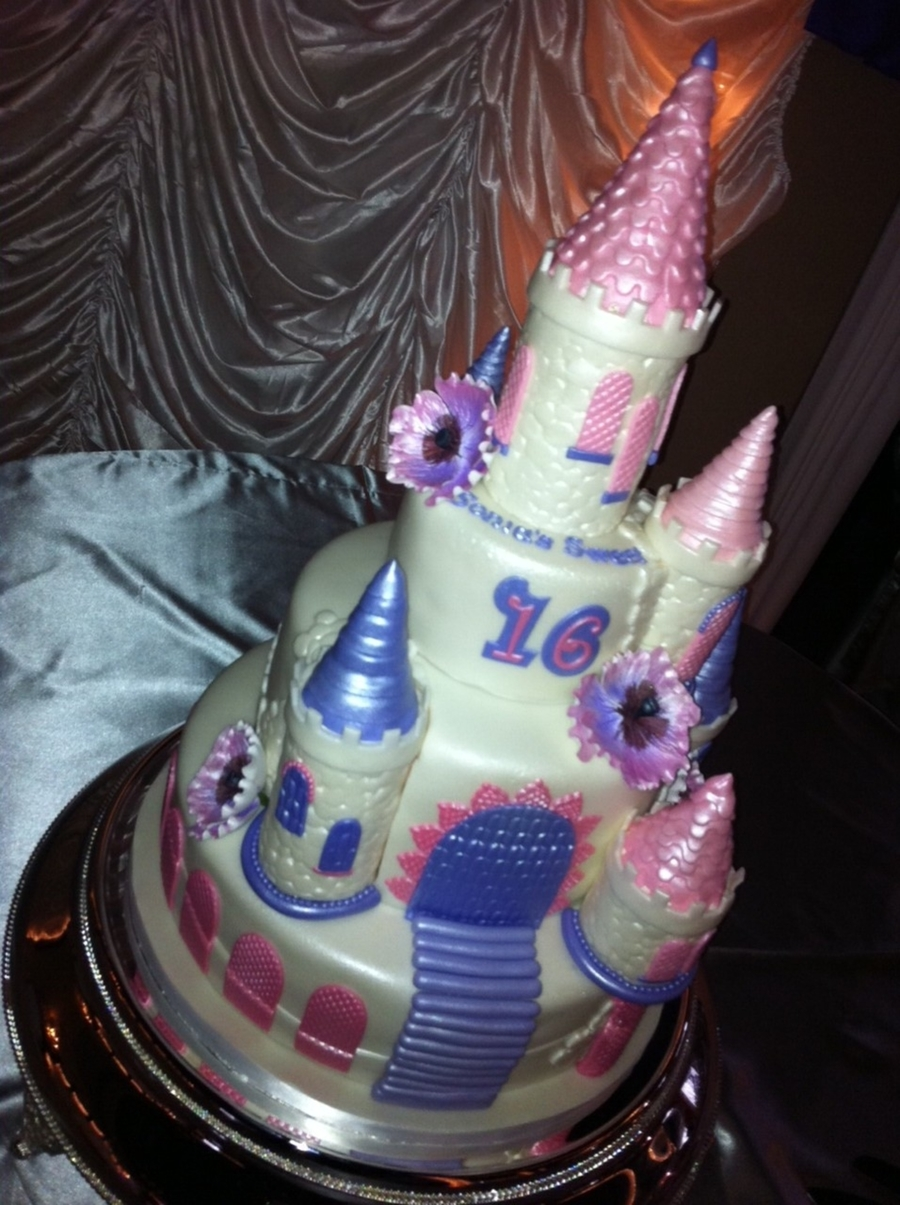 Sweet 16 Castle Cake From Sweet Discoveries  on Cake Central