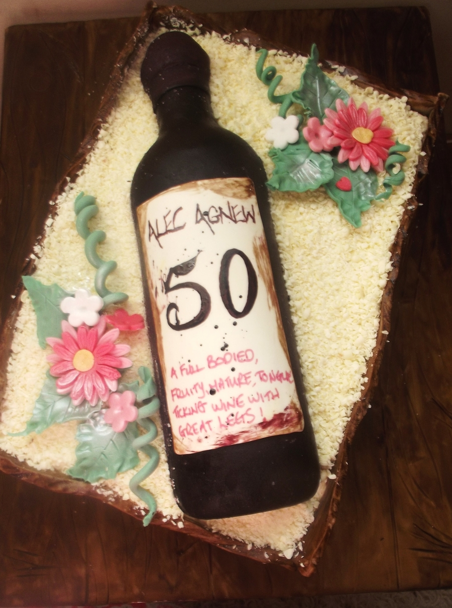 50th Rbirthday Ed Wine Bottle Cake In Wooden Crate Cakecentral