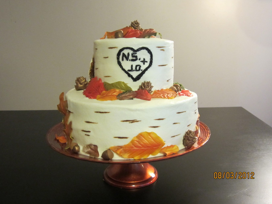 Buttercream Bridal Shower Cake With Fondant Leaves Acorns And Pinecones on Cake Central