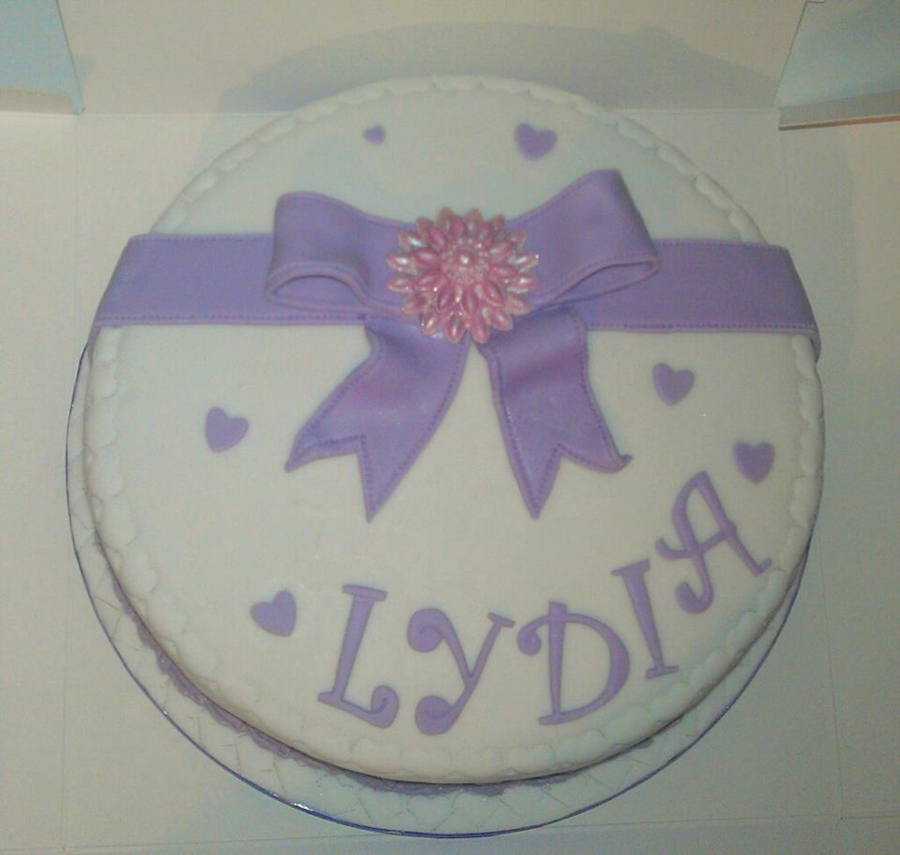 Purple Bow Birthday Cake on Cake Central