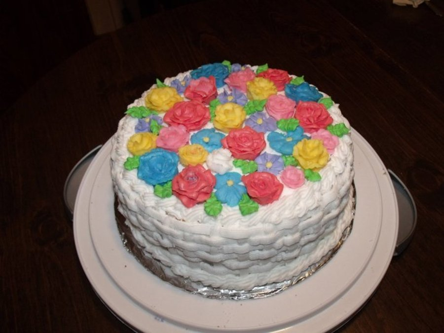 Basket Weave- Flower Cake on Cake Central