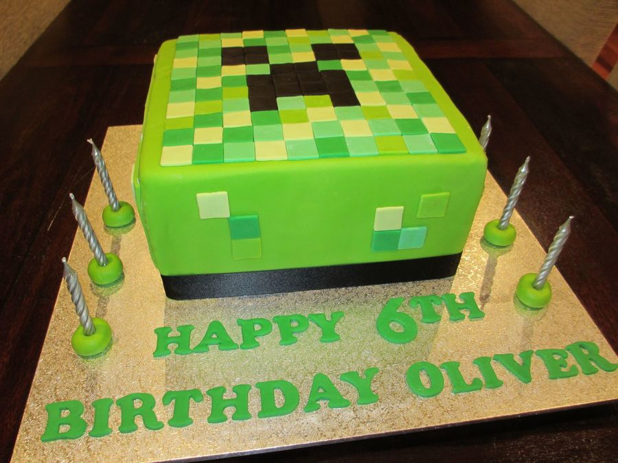 Minecraft Images For Birthday Cake : Minecraft Creeper 6Th Birthday Cake - CakeCentral.com