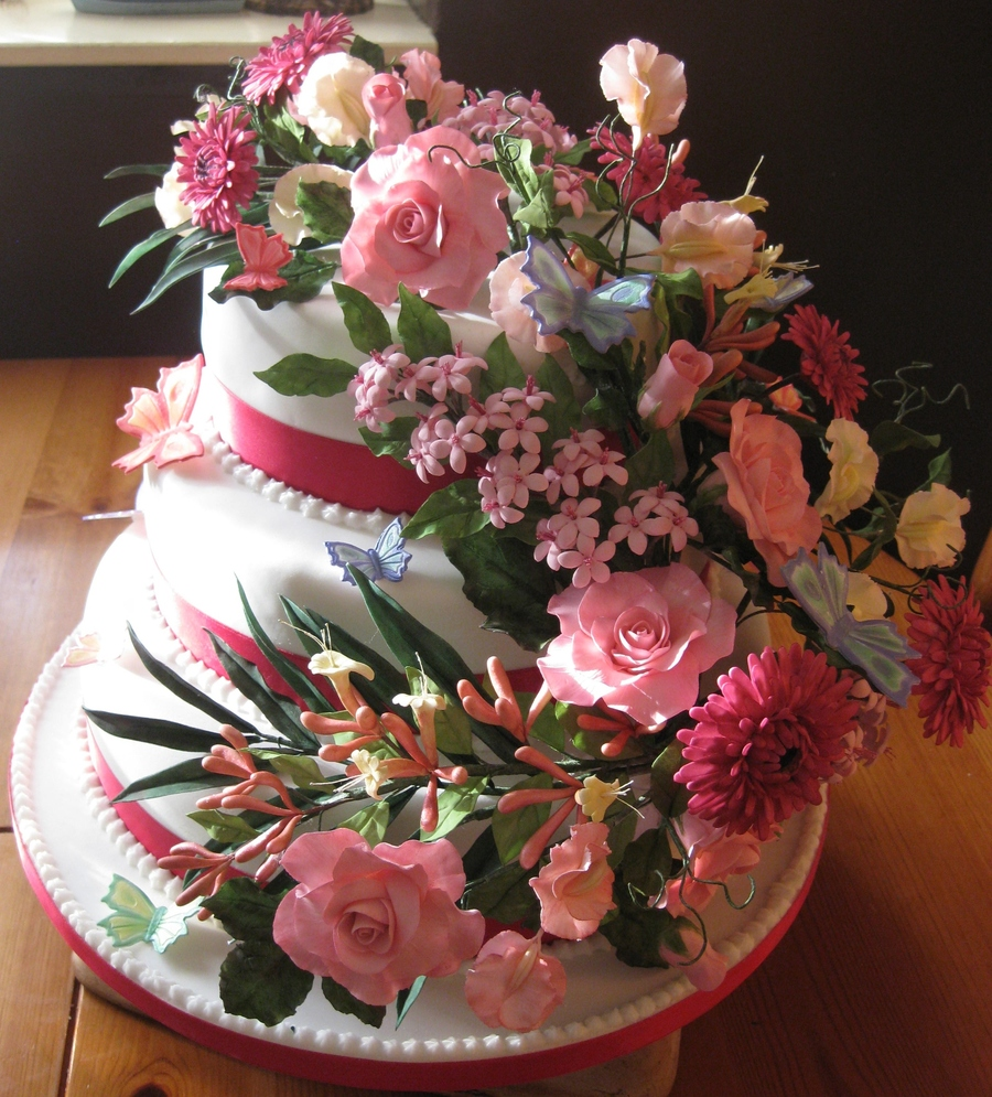 Flower Wedding Cake on Cake Central