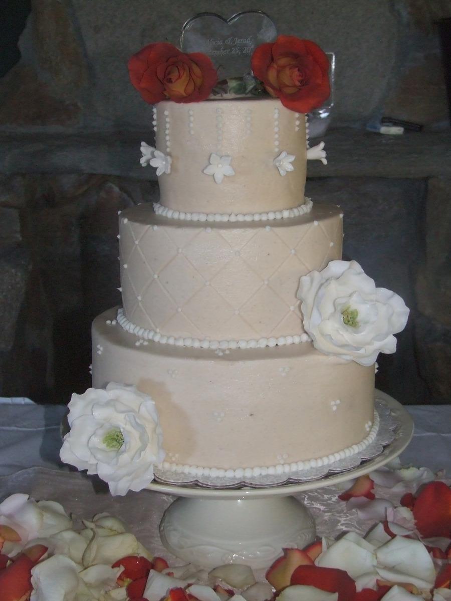 White Poppy Wedding - CakeCentral.com