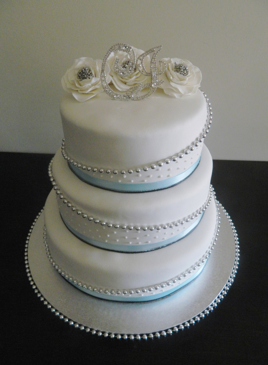 Baby Blue, Black And Silver on Cake Central