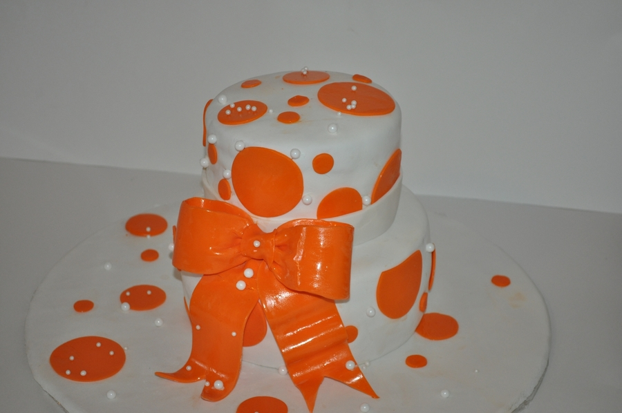 Orange And White Dots on Cake Central