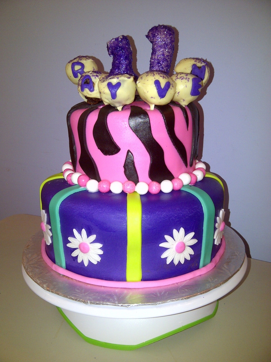 Purple Teal Lime Green And Pink Girly Cake Cakecentral Com
