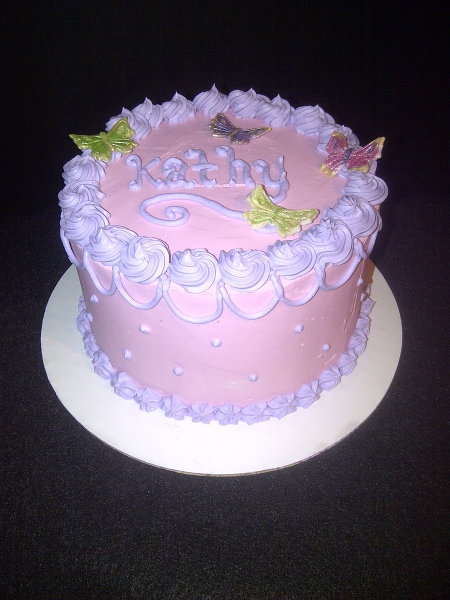 Pink And Purple Smbc Birthday Cake Cakecentral