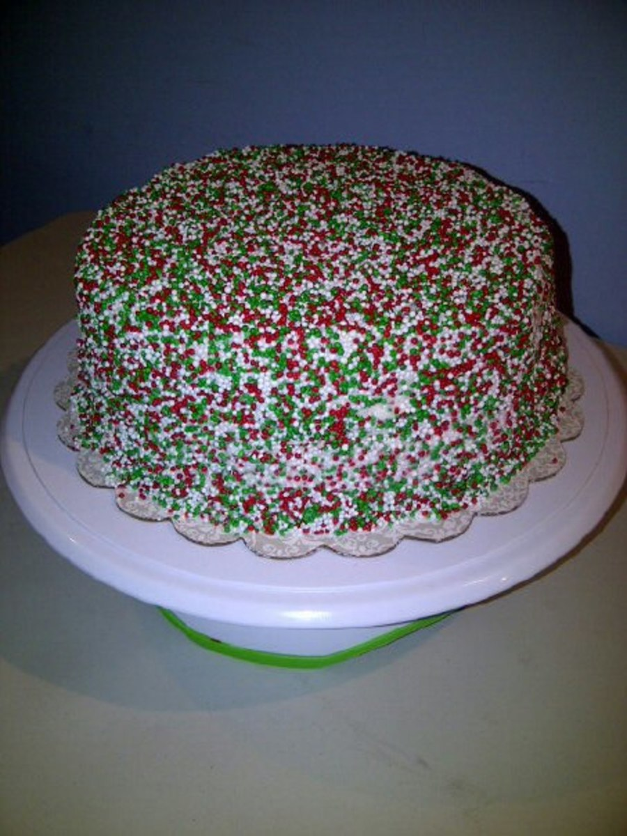 Christmas Sprinkles Cake Also Doubling As A Birthday Cake Strawberry Cake Filling And Buttercream Icing on Cake Central