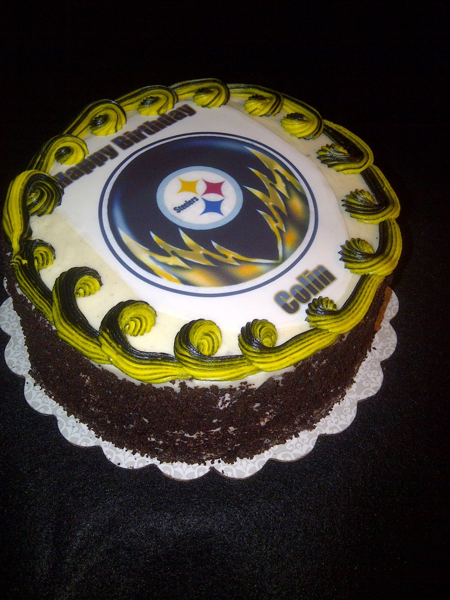 Fabulous Pittsburgh Steelers Black Forest Style Birthday Cake Cakecentral Com Funny Birthday Cards Online Alyptdamsfinfo