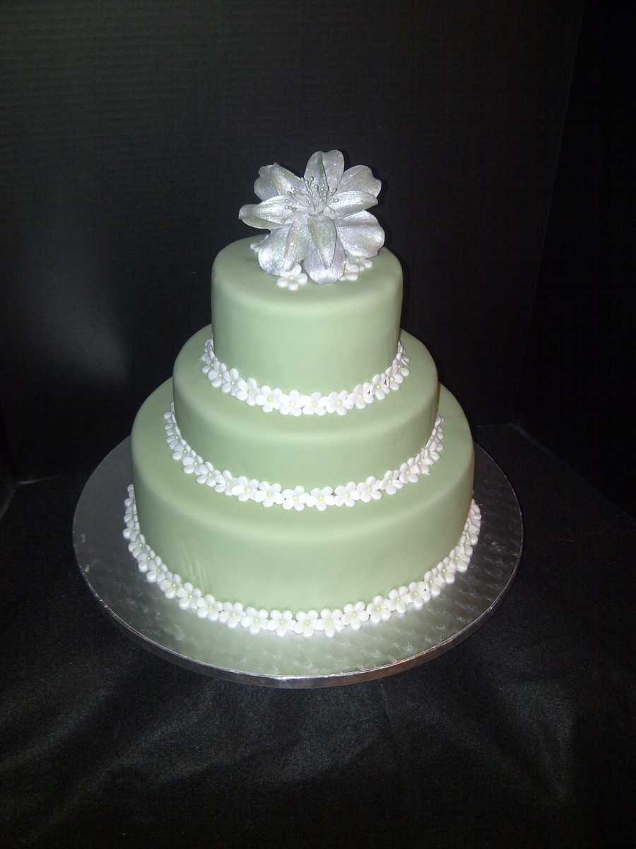 Green And Silver Wedding Cake - CakeCentral.com