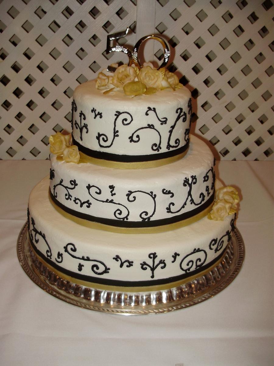 50th Anniversary Cupcake Decorations Gold Black 50th Anniversary Cake Cakecentralcom