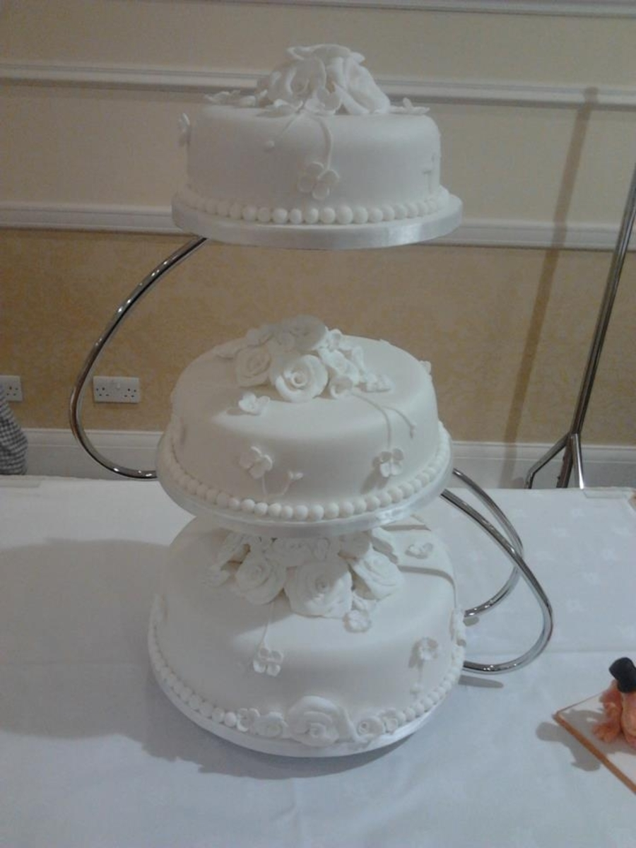 White Rose And Hydrangea 2 Wedding Cake on Cake Central