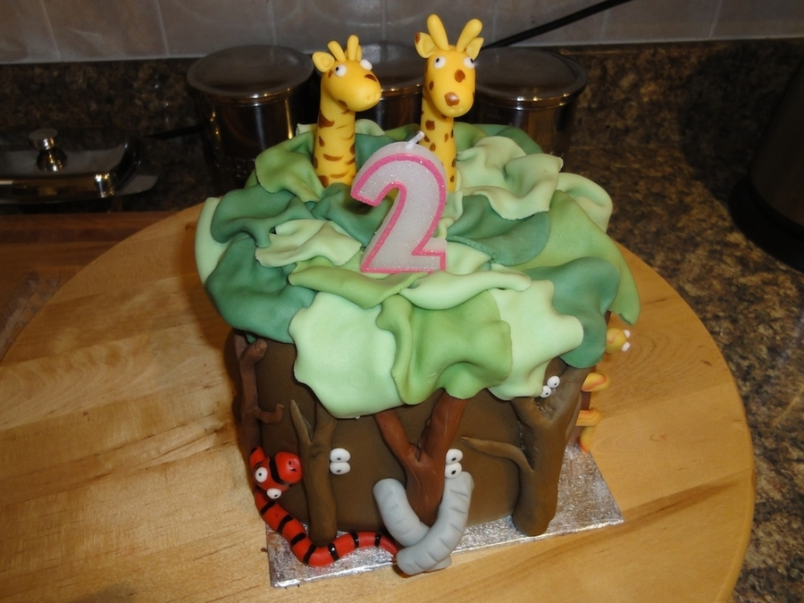 Jungle Themed Cake For My Daughters 2nd Birthday Copied From A Book With Slight Tweeks Of Own