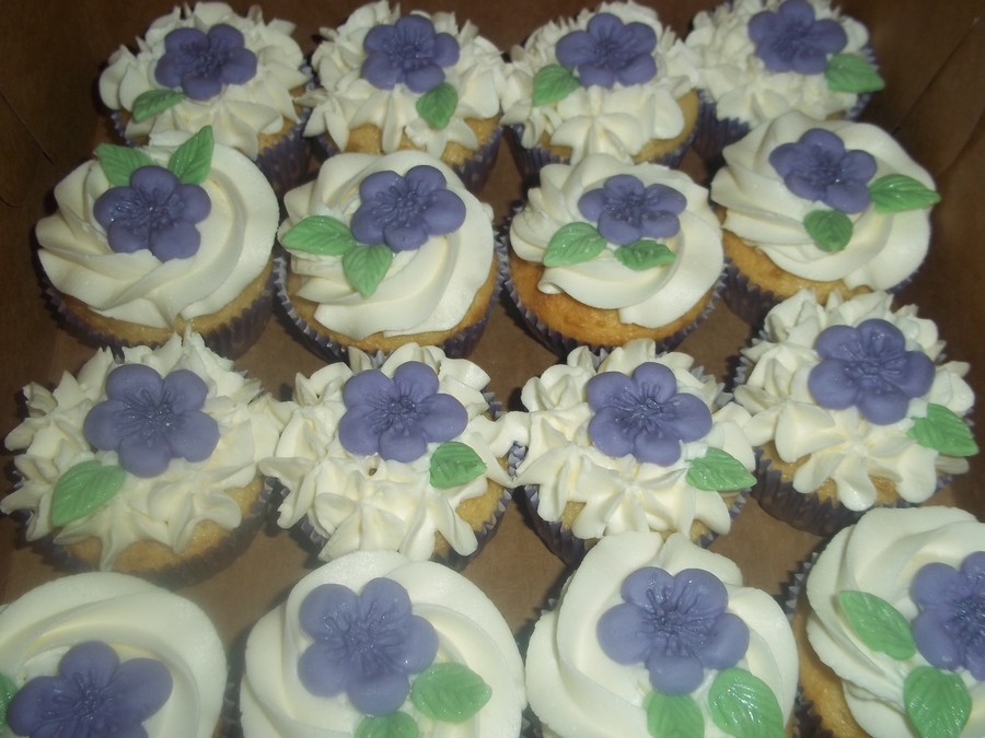 Purple Flower Cupcakes on Cake Central