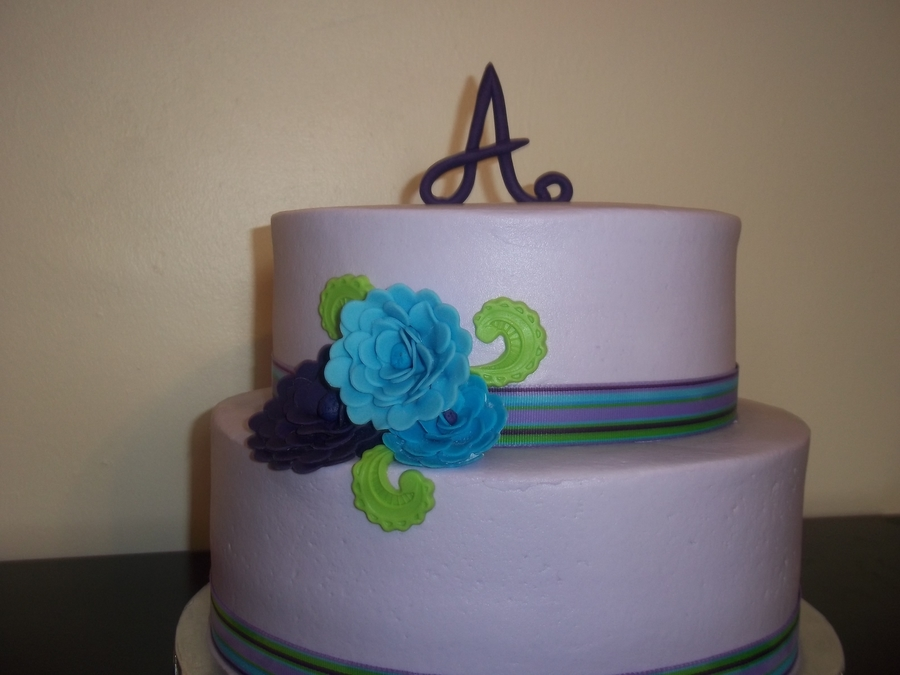 Purple Monogram on Cake Central
