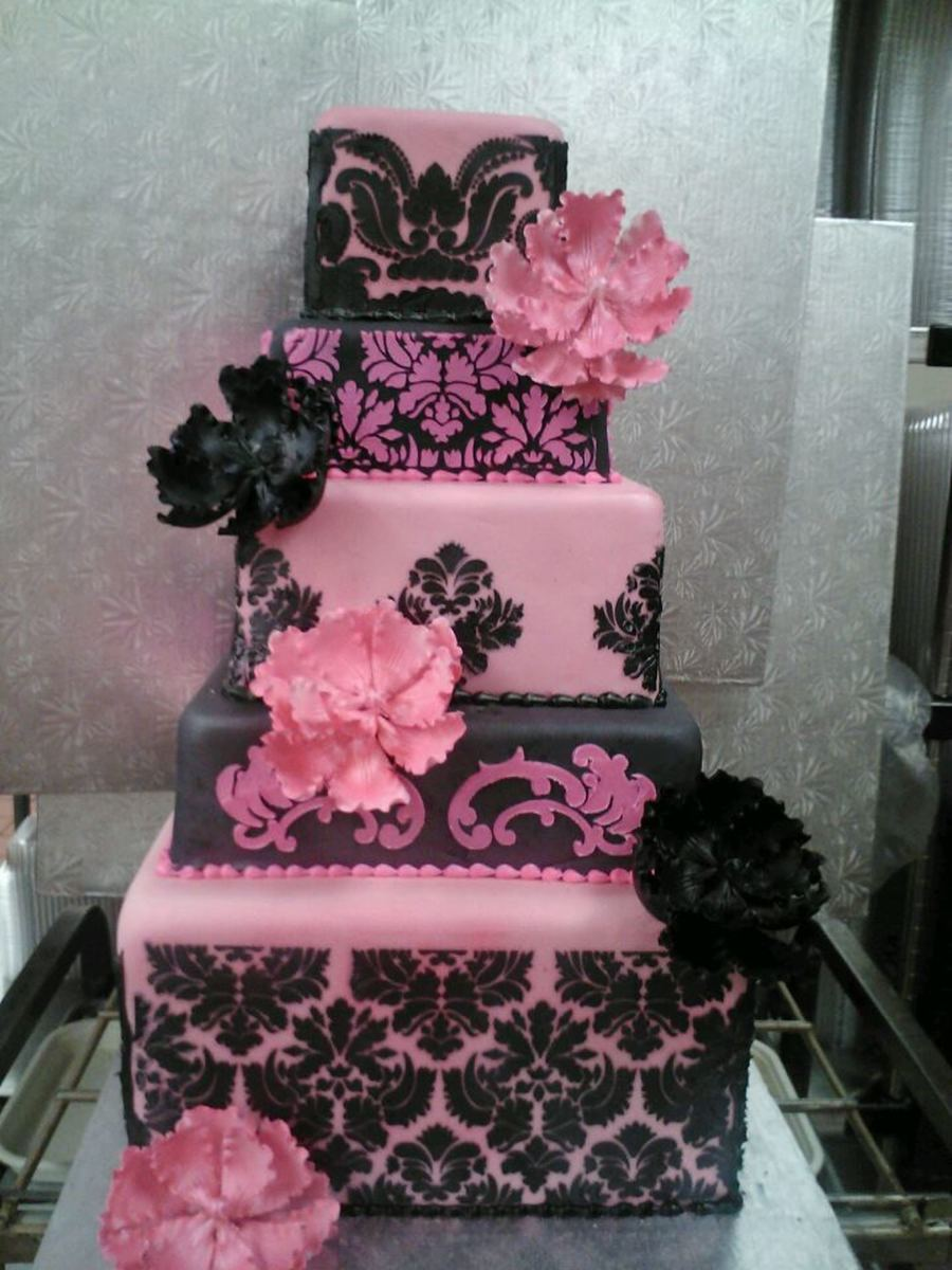 Damask Stencil Pink And Black on Cake Central
