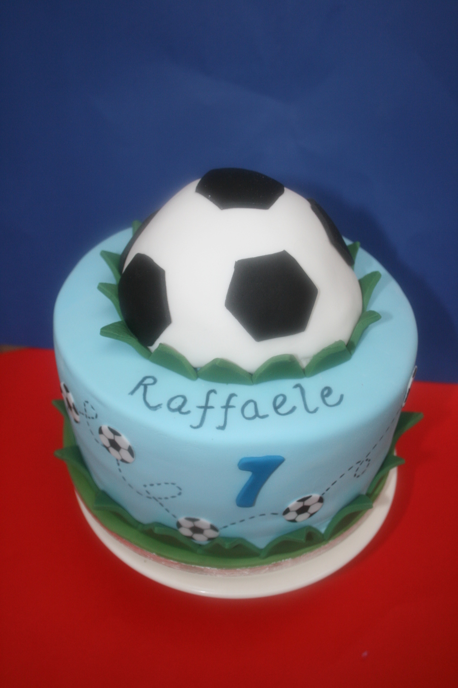 Soccer Cake For One Of My Daughters Friends Who Was Turning 7 The Half Football Is Chocolate Cake And Was Baked In A Bowl And Then Covered... on Cake Central