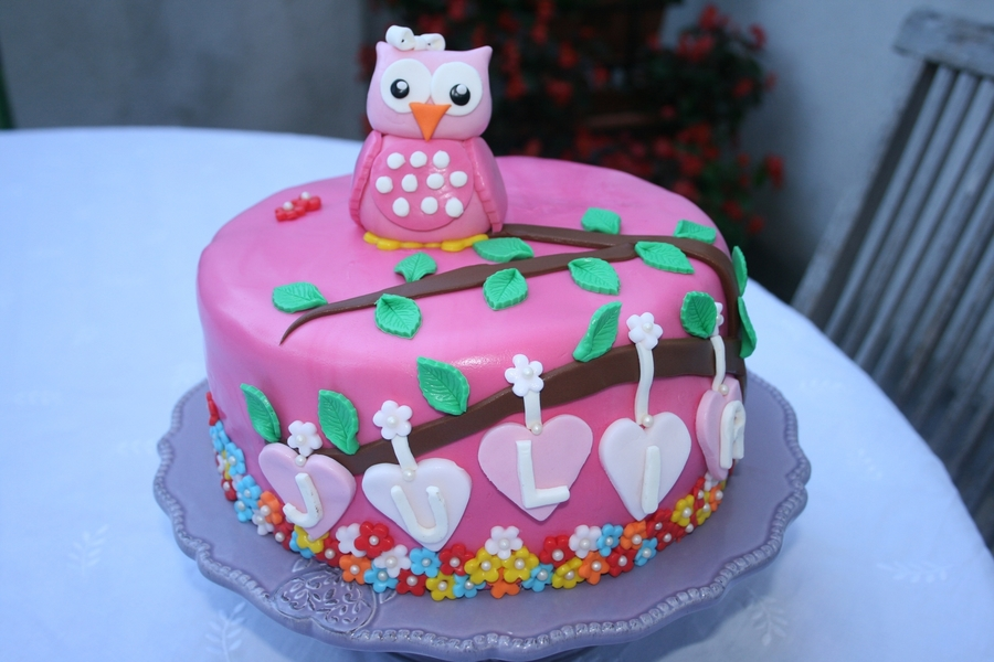 Owl And Blossoms on Cake Central