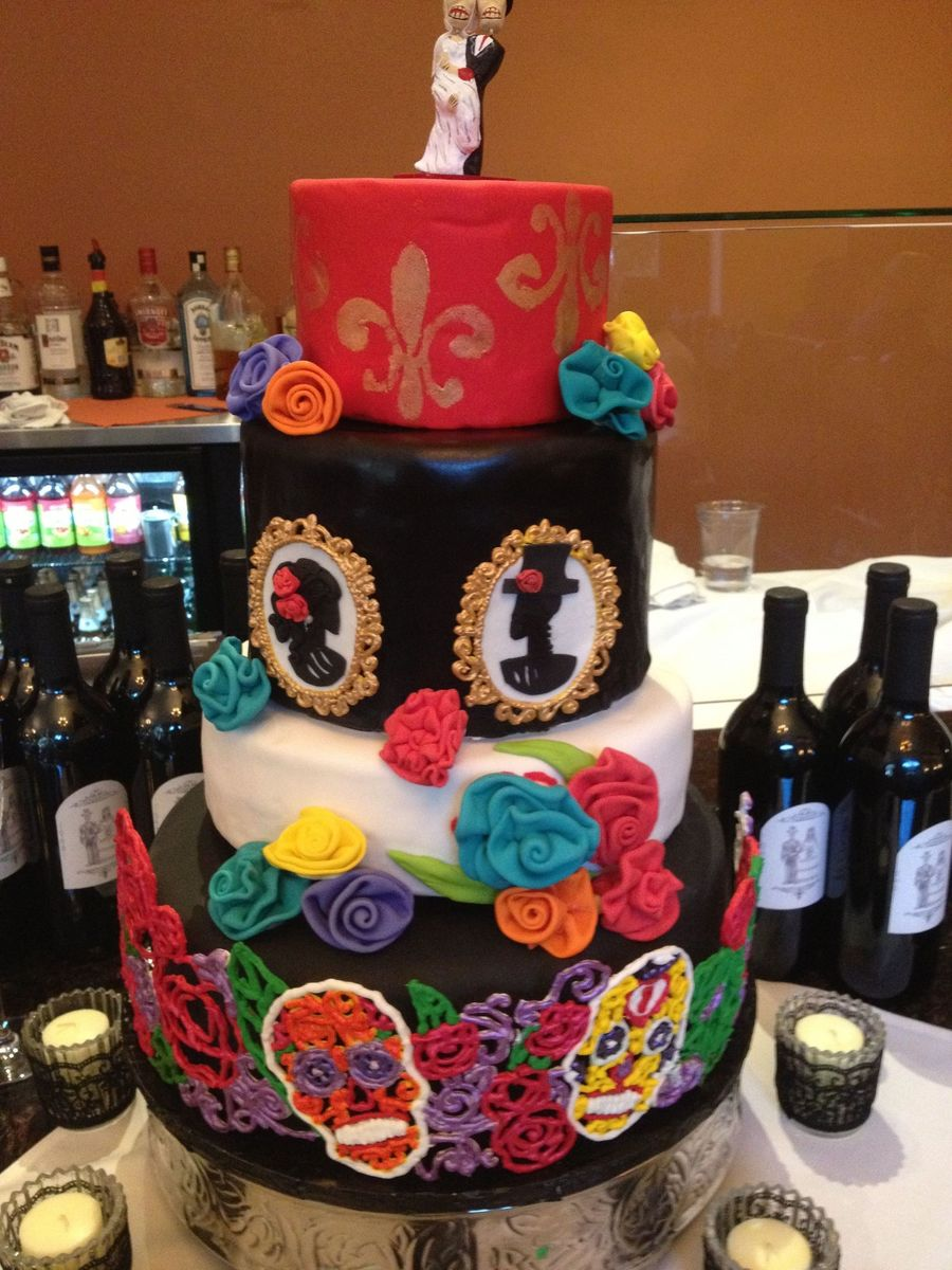 Day Of The Dead Wedding For My Brother I Had So Much Trouble With This Cake But I Guess When You Procrastinate Until Less Than A Week Befor... on Cake Central