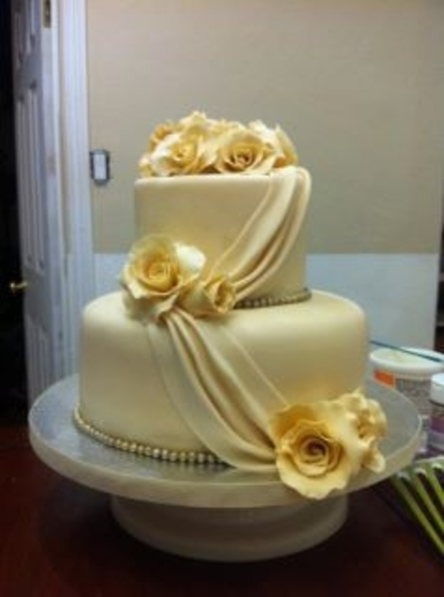 Ivory Wedding Cake on Cake Central