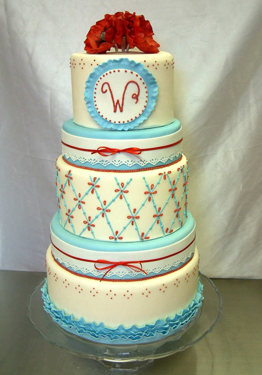 Blue And Red Wedding on Cake Central
