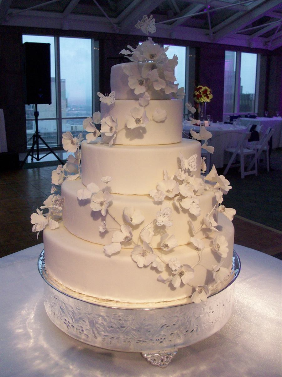 Dogwood Wedding Cake W/royal Icing Butterflies on Cake Central