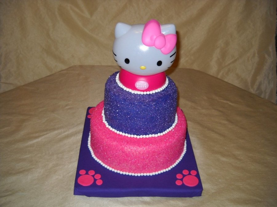 Cake Is Oreo With An Oreo Cream Filling Covered With Fondant And Sanding Sugar The Hello Kitty Topper Is A Night Light on Cake Central